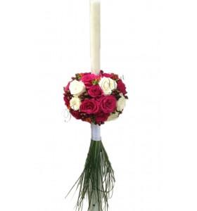 Lumanari nunta trandafiri cyclam trandafiri crem frezii hypericum