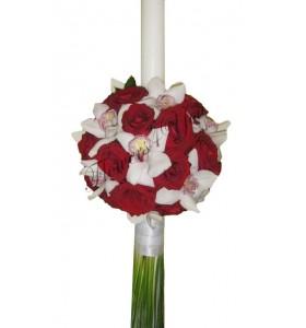 Lumanari nunta orhidee alba trandafiri grena