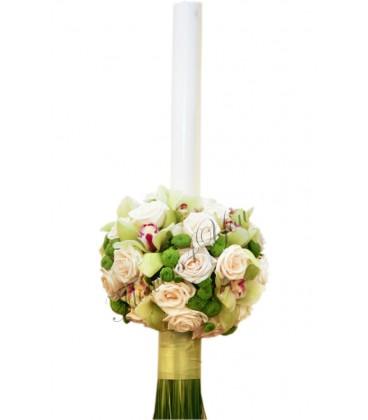 Lumanari nunta trandafiri crem santini verde orhide verde