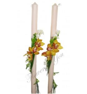 Lumanari nunta orhidee galbena frezii albe santini