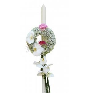 Lumanari nunta phalaenopsis alb gipsofila
