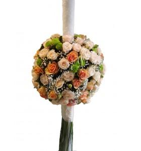 Lumanari nunta santini verde miniroza roz gipsofila