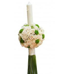 Lumanari nunta santini verde trandafiri crem