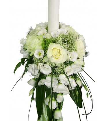 Lumanari nunta trahelium trandafiri albi lisiantus alb