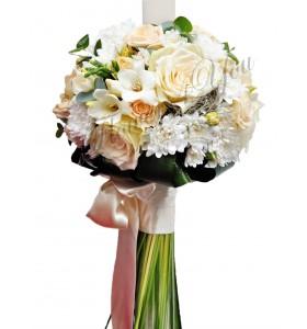 Lumanari nunta trandafiri albi frezia alba crizantema