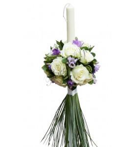 Lumanari nunta trandafiri albi frezia mov-lila