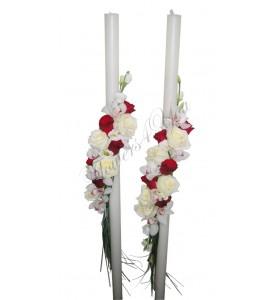 Lumanari nunta trandafiri albi orhidee alba trandafiri grena