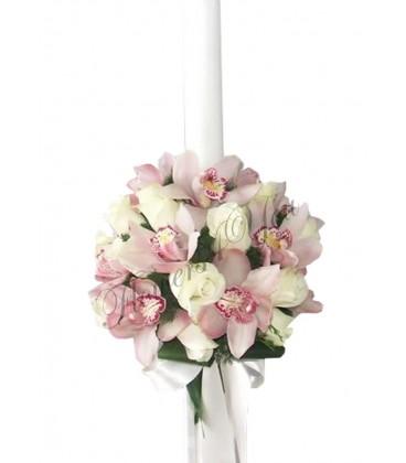 Lumanari nunta trandafiri albi orhidee roz