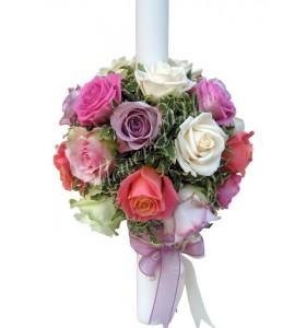 Lumanari nunta trandafiri albi roz mov