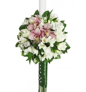 Lumanare nunta frezii albe orhidee grena