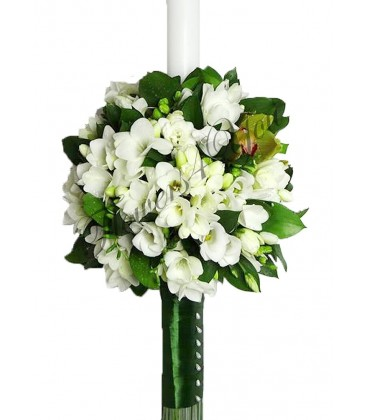 Lumanare nunta frezii orhidee ruscus