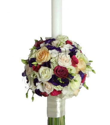 Lumanare nunta lisiantus trandafiri