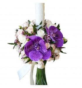 Lumanare nunta miniroza trandafiri vax flower
