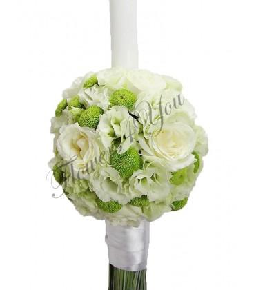 Lumanare nunta trandafiri lisiantus santini