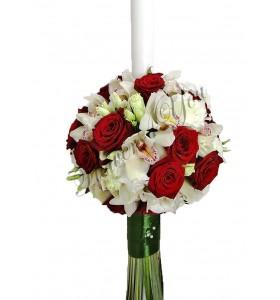 Lumanare nunta trandafiri orhidee lisiantus