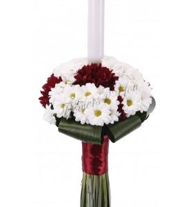 Lumanare nunta crizantema alba si grena