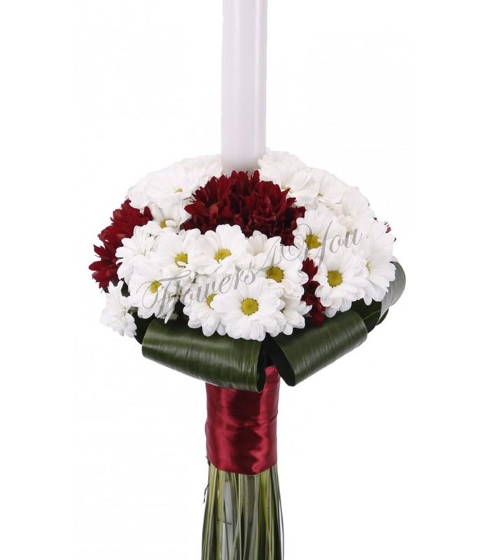 Tlamt Grena Simple : Lumanare nunta crizantema alba si grena