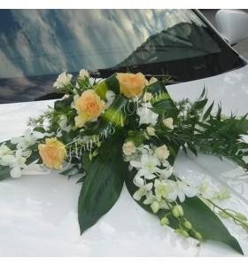 Aranjamente masina dendrobium trandafiri somon