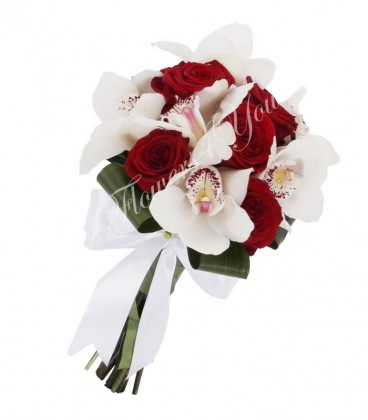 Buchet mireasa trandafiri grena orhidee alba