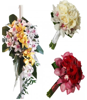 Pachet floral lumanari trandafiri si orhidee