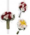 Pachet floral lumanari orhidee si trandafiri