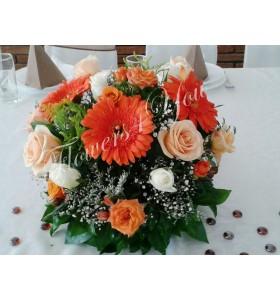 Aranjament floral nunta gerbera trandafiri