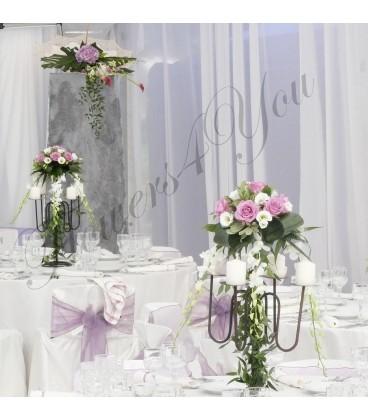Aranjament floral nunta trandafiri lisiantus dendrobium