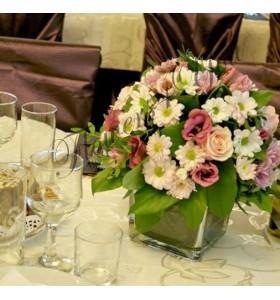 Aranjament floral nunta crizantema trandafiri lisiantus