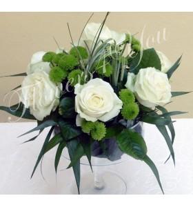 Aranjament floral nunta trandafiri santini