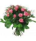 Buchet trandafiri roz verdeata