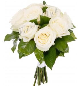 Buchet trandafiri albi salal