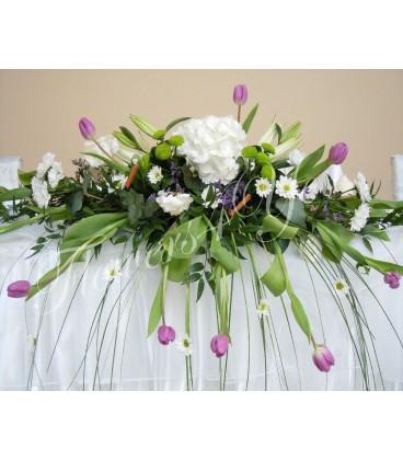 Aranjament floral prezidiu lalele hortensia