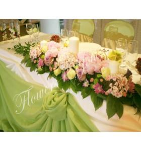 Aranjament prezidiu hortensia trandafiri crizantema santini bujori