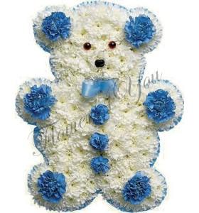 Aranjament floral botez ursulet crizantema