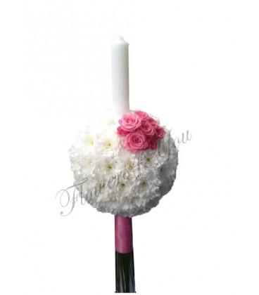 Lumanare fetita botez crizantema alba miniroza roz