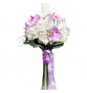 Lumanari botez hortensia alba phalaenopsis roz