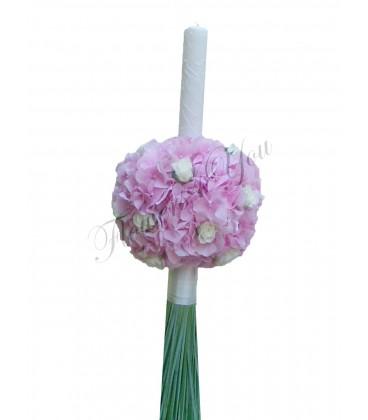 Lumanari botez hortensia roz miniroza albi