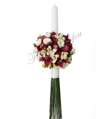 Lumanari botez orhidee grena frezii albe