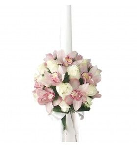 Lumanari botez orhidee roz trandafiri albi