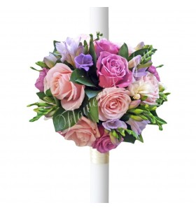 Lumanari botez trandafiri roz frezii lila