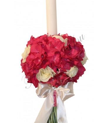 Lumanare botez hortensia roz trandafiri albi