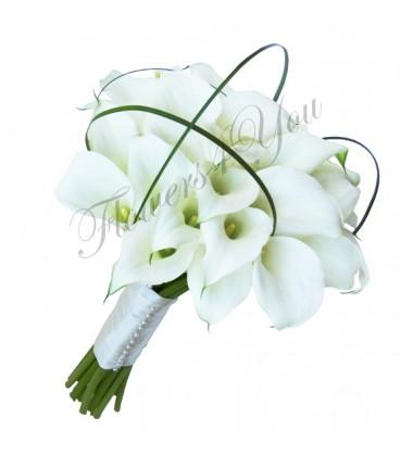 Buchet de mireasa cale albe bucle belgrass