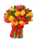 Buchet lalele rosii galbene