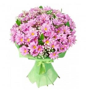 Buchete crizanteme roz gipsofila