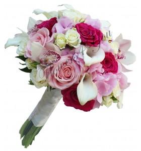 Buchet mireasa cale trandafiri orhidee mini trandafiri