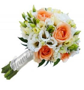 Buchet de mireasa trandafiri frezii lisiantus