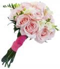 Buchet de mireasa trandafiri roz pal frezia alba