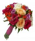 Buchet de mireasa trandafiri asortati mini trandafiri