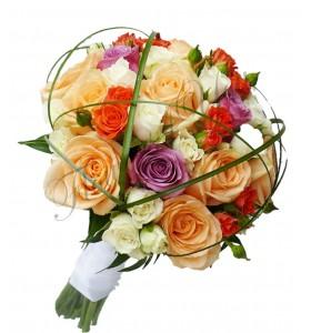 Buchet de mireasa trandafiri colorati miniroza corai