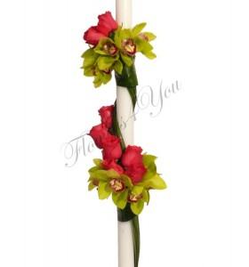 Lumanari nunta orhidee verde trandafiri coray